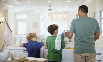 Father and CHildren in Kitchen